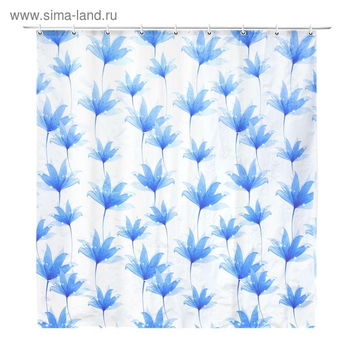 """Штора для ванной """"Голубые цветы"""", 180*180 см, EVA"""