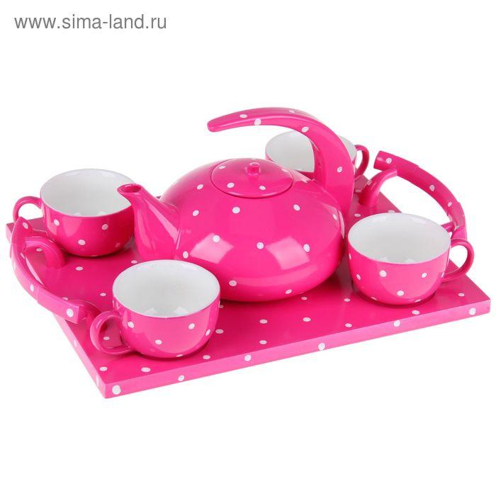 """Сервиз кофейный на 4 персоны """"Горох"""", чашки 90 мл, цвет розовый"""
