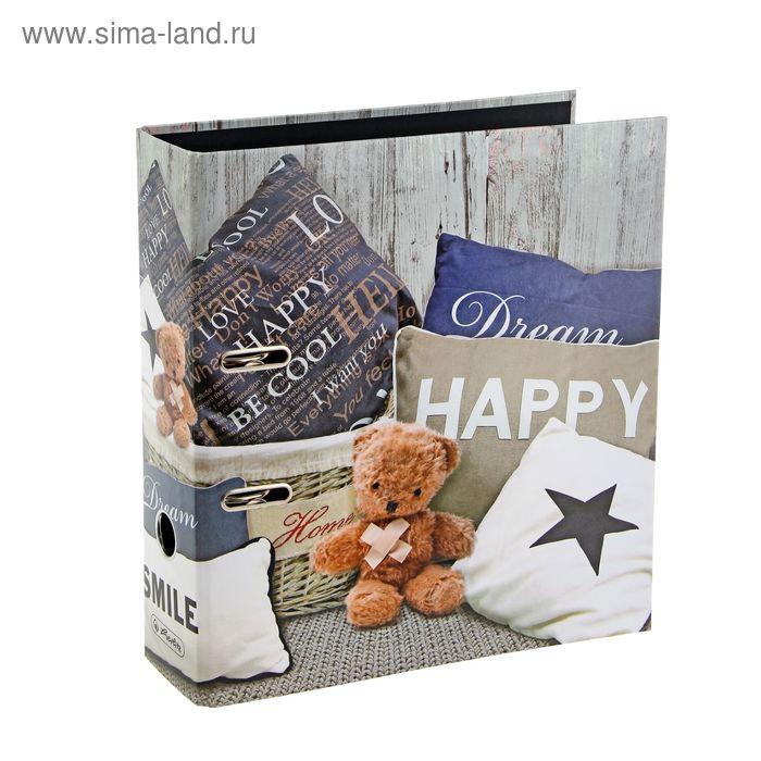 Папка-регистратор 80мм Herlitz Happy Teddy, maX.file Enjoy The Silence, ламинированный картон