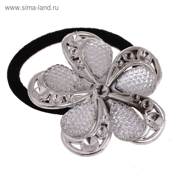 """Резинка для волос """"Ассоль"""", серебряный цветок"""