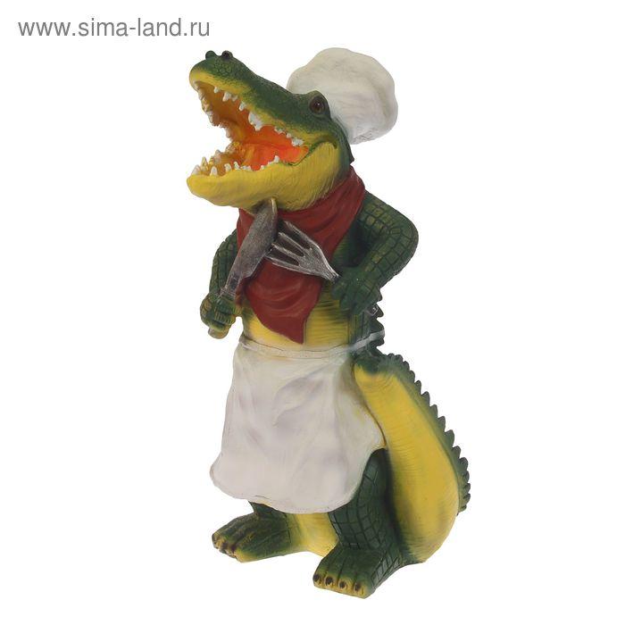 """Садовая фигура """"Крокодил-повар"""""""