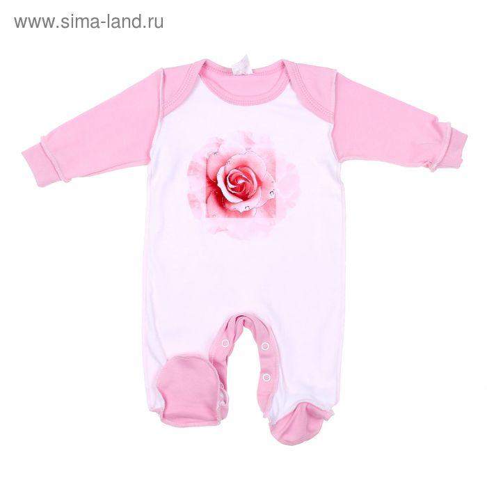 """Комбинезон для девочки """"Роза"""", рост 68 см (44), цвет розовый/белый 6163"""