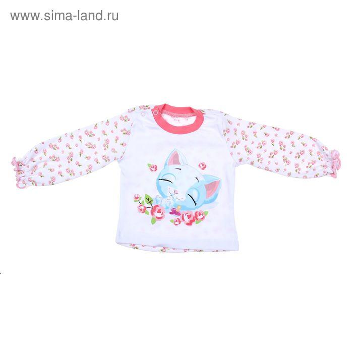 """Кофточка для девочки """"Нежные розы"""", интерлок, рост 74 см, цвет белый+розовый"""