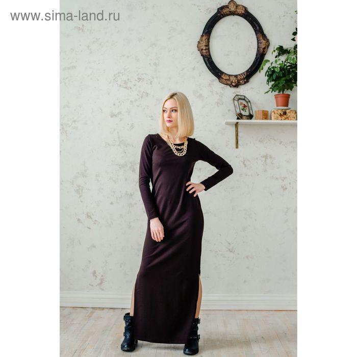 Платье женское, размер 50, рост 168 см, цвет шоколад (арт. 1535 С+)