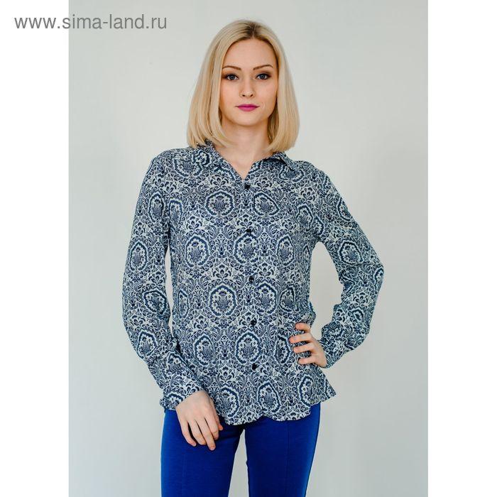 Блуза женская, размер 48, рост 168 см, цвет синий/молочный (арт. 1562)