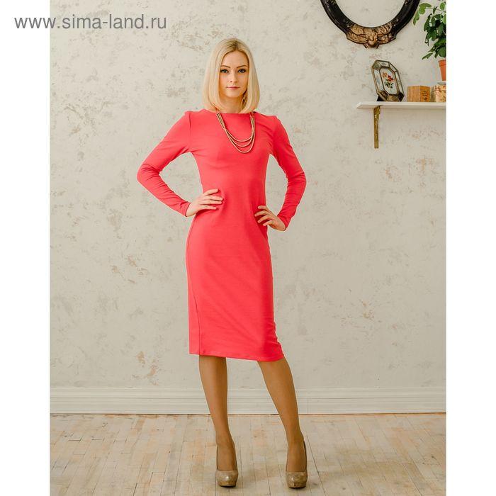 Платье женское, размер 50, рост 168 см, цвет коралловый (арт. 1522 С+)