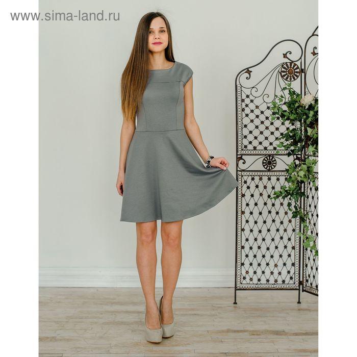 Платье женское, размер 48, рост 168 см, цвет светло-серый (арт. 1523)