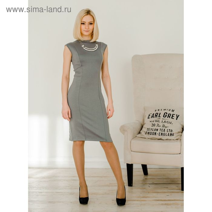 Платье женское, размер 42, рост 168 см, цвет светло-серый (арт. 1528)