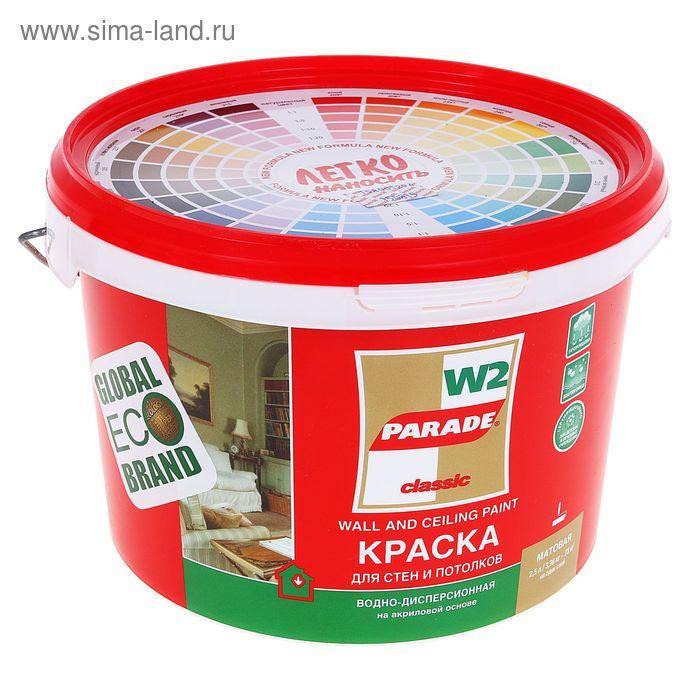 Краска PARADE акриловая W2 для стен и потолков влагопрочная белая матовая 2,5л