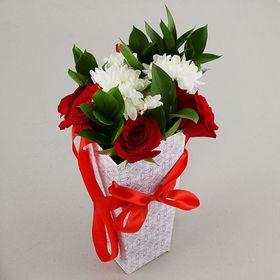 """Пакет для цветов """"Узор"""", 24 х 12 х 10 см"""