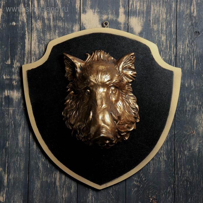 """Панно """"Голова кабана"""" бронза, чёрный щит"""