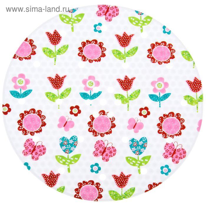 """Коврик в раковину """"Розовые цветы"""" 29х29 см, круглый"""