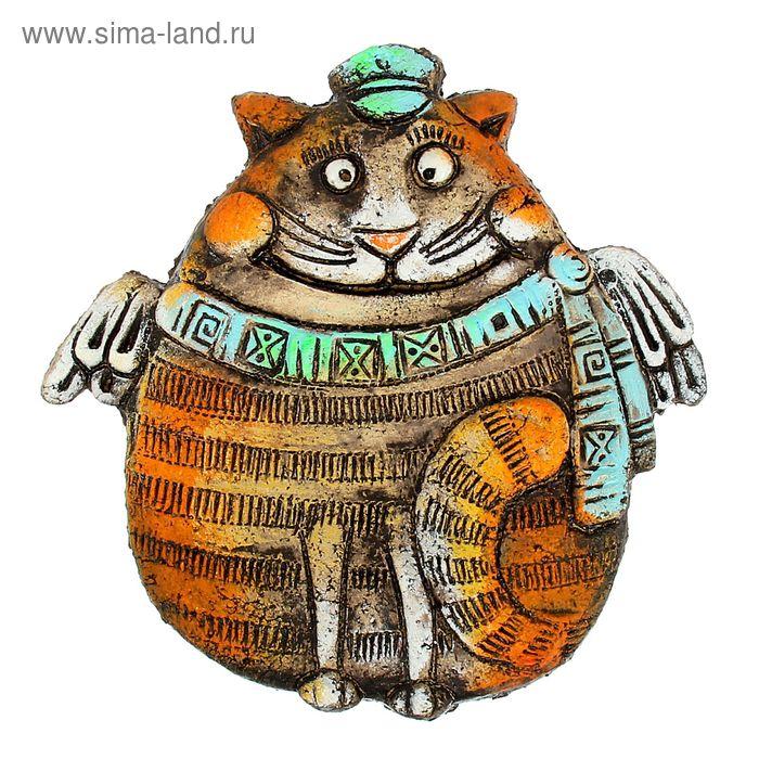 "Панно из шамота ""Кот Матроска"" 18 см"