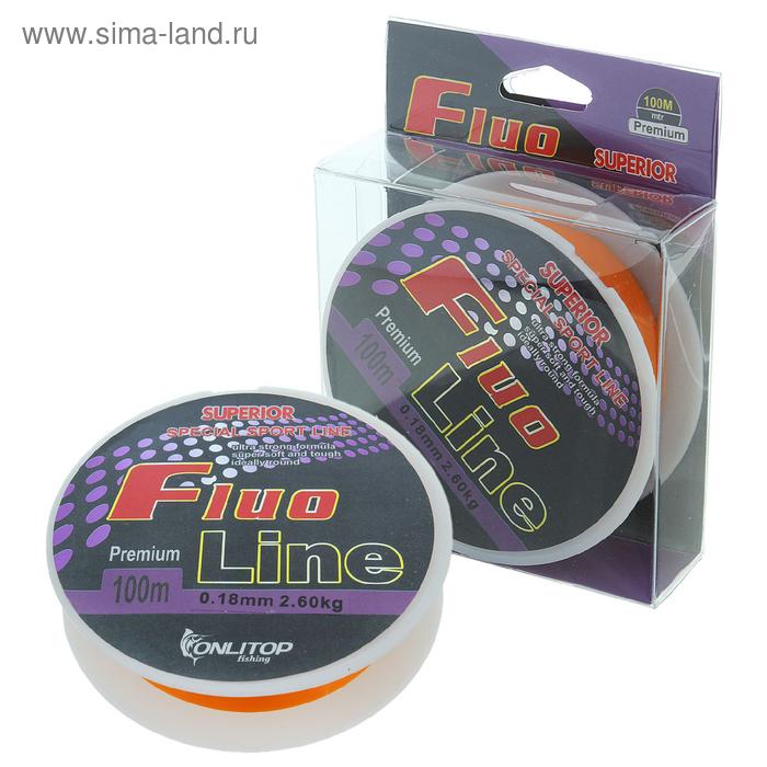 Леска капрон Fluo Line оранжевый d=0,18 мм, 100 м