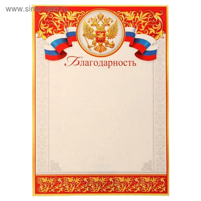 """Благодарность """"Россия"""" герб, триколор"""