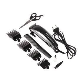 Машинка для стрижки волос LuazON LST-08, 15 Вт, насадки 3, 6, 10, 13 мм, серебристо-чёрная Ош