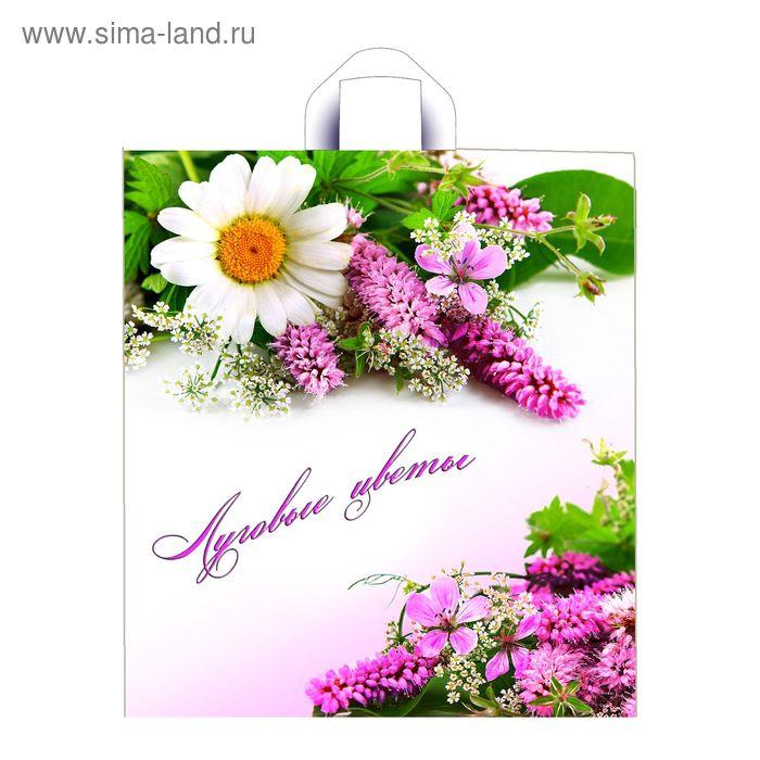 """Пакет """"Луговые цветы"""", полиэтиленовый с петлевой ручкой, 42х38 см, 33 мкм"""