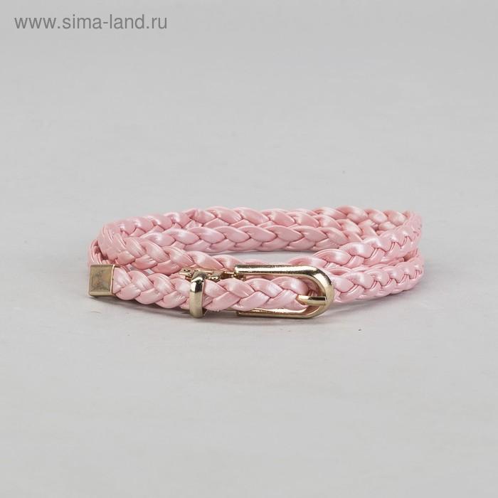 """Ремень женский """"Плетёнка"""", пряжка, хомут и кончик под золото, ширина - 1см, розовый"""