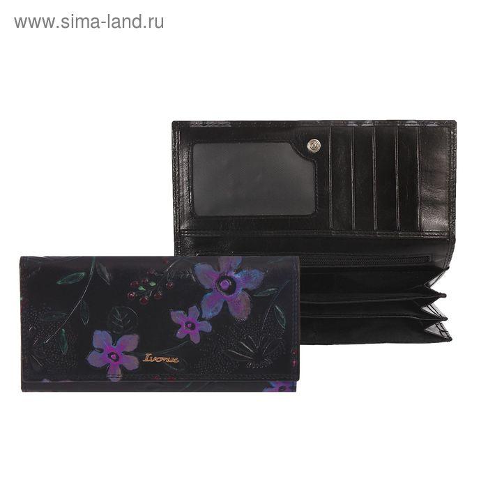 Кошелёк женский на клапане, 4 отдела, отдел для карт, 2 отдела на рамке, чёрный