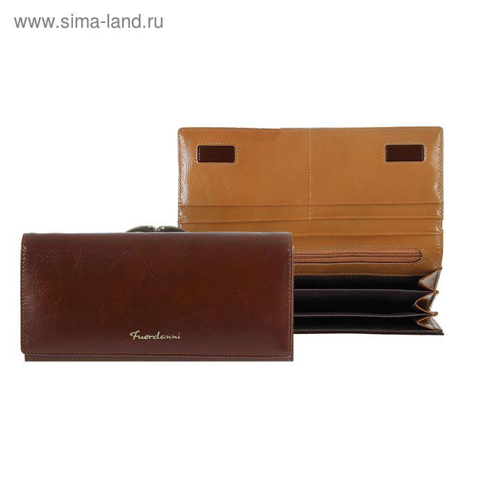 Кошелёк женский на магните, 4 отдела, отдел для карт, 2 отдела на рамке, коричневый