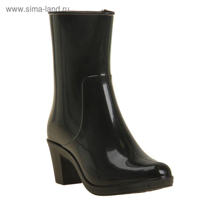 Сапоги женские с утеп арт.8 на каблуке с молнией (черный) (р. 38)