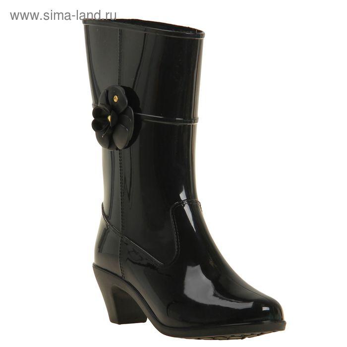 Сапоги женские на каблуке с утеплителем, цвет чёрный, декор МИКС, размер 37 (арт. арт.7Р)