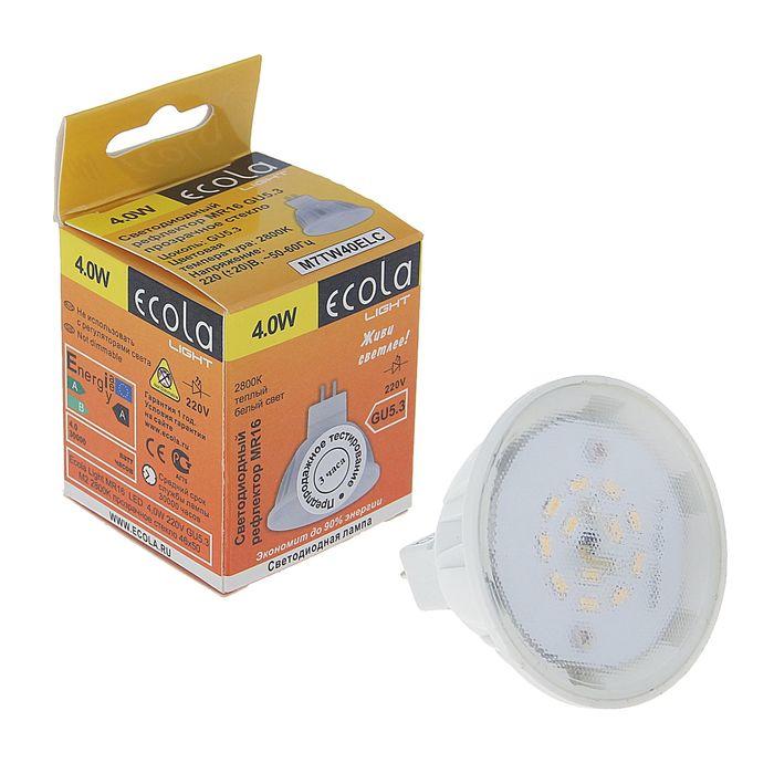 Лампа светодиодная Ecola, GU5.3, 4 Вт, M2, 2800 K, 46x50 мм, прозрачное стекло