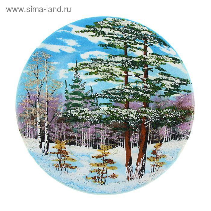 """Тарелка фарфоровая с рисунком  """"Зима"""" Д-200х30 мм"""