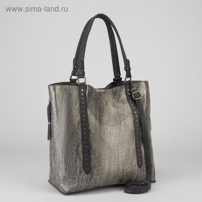 Сумка женская на кнопке, 1 отдел, 1 наружный карман, коричневый/серебристый