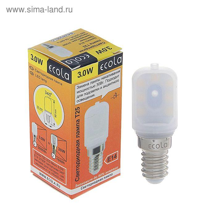 Лампа светодиодная Ecola, E14, Т25, 3 Вт, 2700 К, 340°, для холодильников и швейных машин