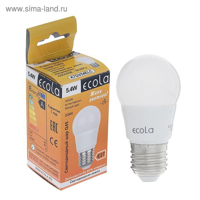 "Лампа светодиодная Ecola, E27, 5.4 Вт, 4000 K, 89x45 мм, ""шар"""