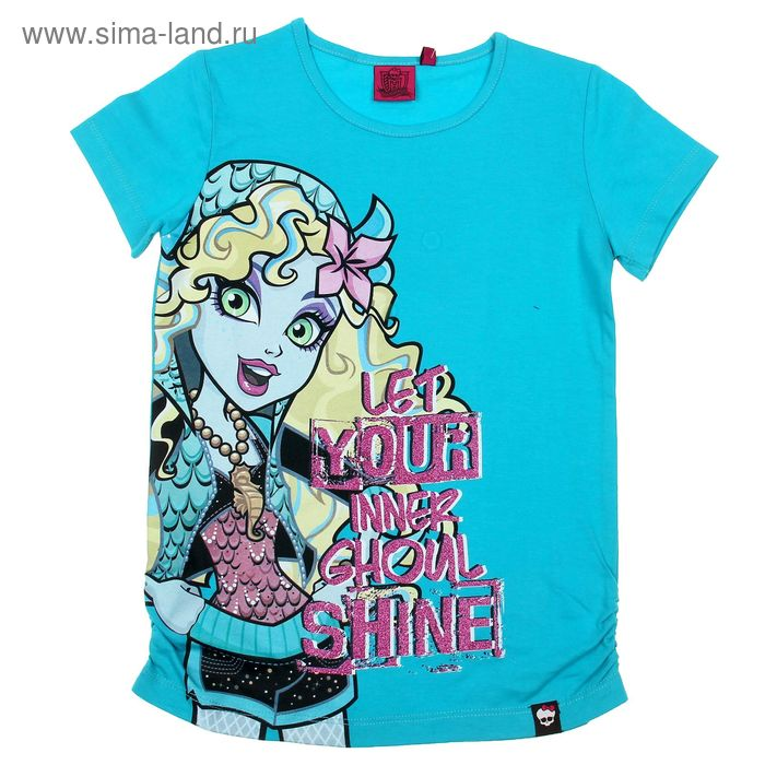 """Футболка для девочки """"Monster High"""", рост 146 см (76), цвет бирюзовый (арт. ZG 02426-S2_Д)"""