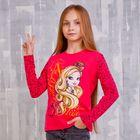 Джемпер для девочки, рост 128 см (68), цвет фуксия-набивка (арт. ZG 03388-F2_Д)