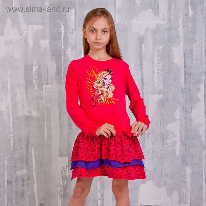 """Платье для девочки """"Ever After High"""", рост 140 см (72), цвет фуксия/набивка (арт. ZG 14128-DLF2_Д)"""