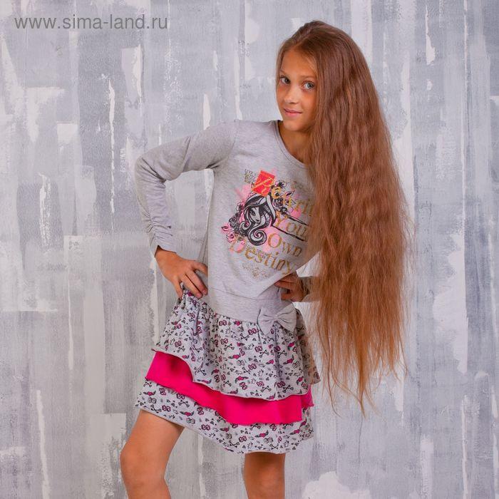 """Платье для девочки """"Ever After High"""", рост 134 см (72), цвет серый/набивка (арт. ZG 14129-FM2_Д)"""