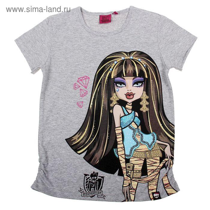 """Футболка для девочки """"Monster High"""", рост 152 см (80), цвет серый меланж (арт. ZG 02430-М2_П)"""