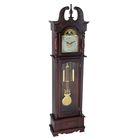 Часы напольные механические, шпиль на крыше с узором и узор на тумбе, вишня 214*61*28 см.