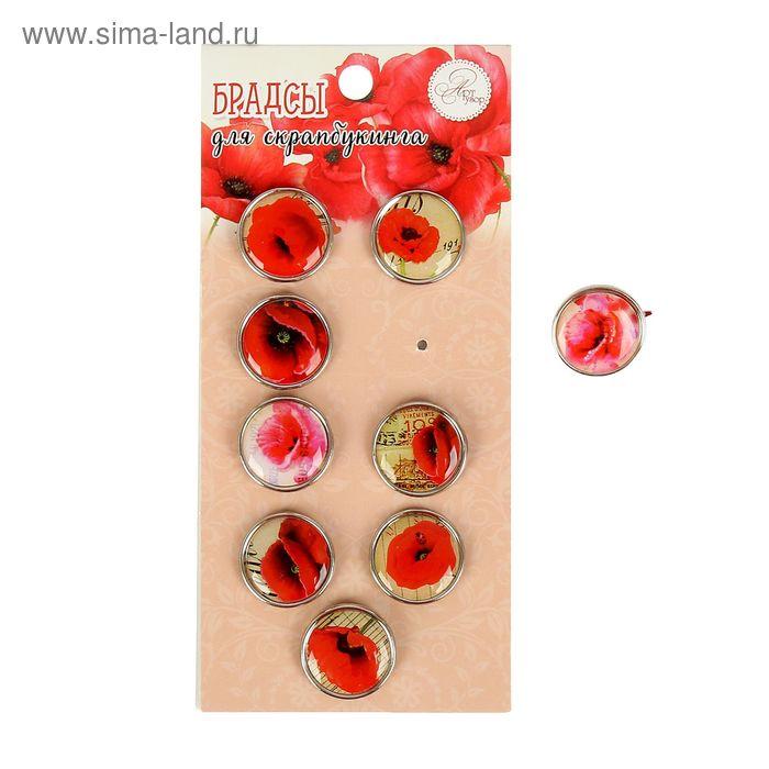 """Брадсы для скрапбукинга """"Красные цветы"""" (набор 9 шт. 1,9 см. ) 14х6,5 см"""