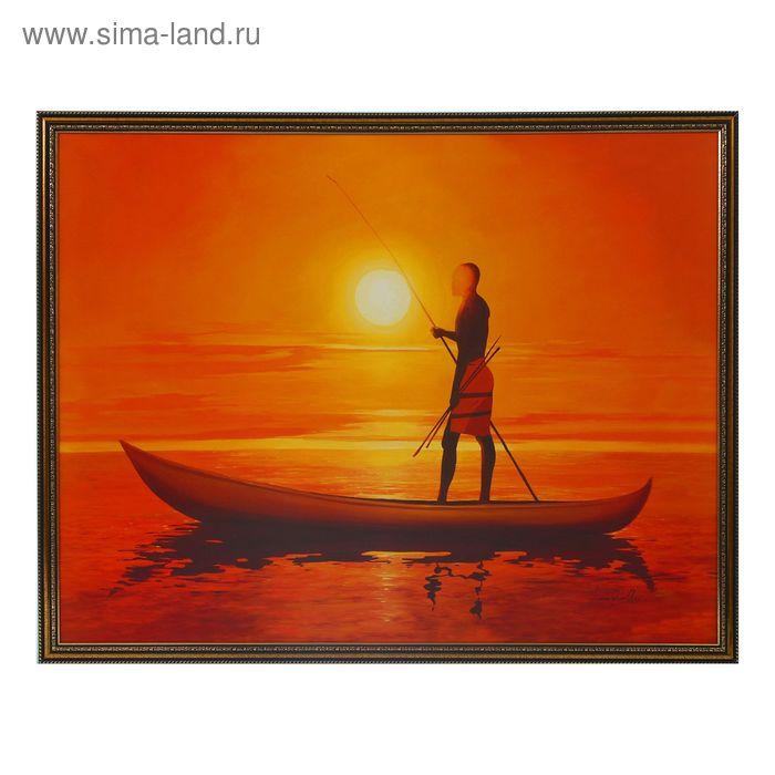 """Картина """"В лодке на закате"""" рама микс"""