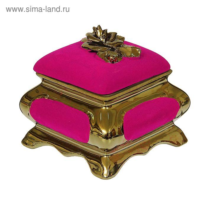 "Шкатулка ""Золотая роза"" булат, флок, розовая"