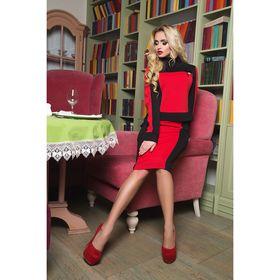 Костюм женский (джемпер, юбка) (джемпер, юбка) 75034  цвет красный, р-р 42 (S), рост 164