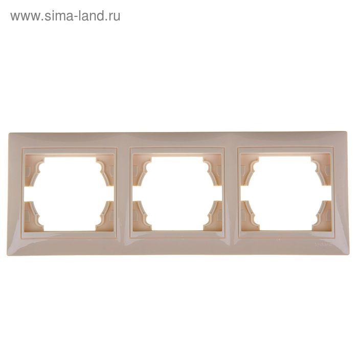 Рамка LEDARD Novus, трехместная, вертикальная, цвет слоновая кость