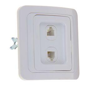 Розетка телефонная POWERMAN Classic 2134, двухместная, скрытая, белая