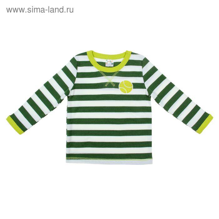Футболка для мальчика с длинным рукавом, рост 134-140 см, цвет болотный/полоска (арт. AZ-807)