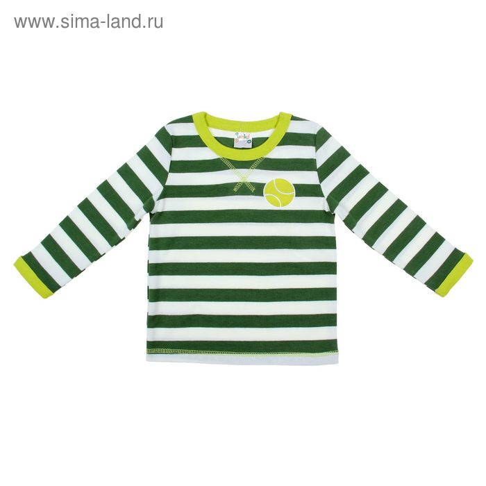 Футболка для мальчика с длинным рукавом, рост 98-104 см, цвет болотный/полоска (арт. AZ-807)