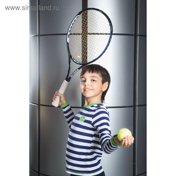Футболка для мальчика с длинным рукавом, рост 122-128 см, цвет синий/полоска (арт. AZ-807)