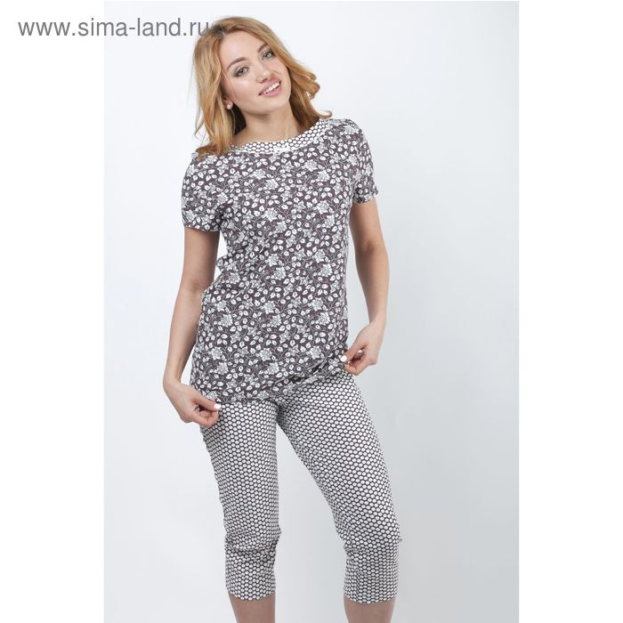 Пижама женская (футболка, бриджи) Р208080 вискоза цвет коричневый, рост 170-176, р-р 44