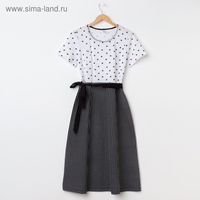 Платье женское Р708168 чёрный/белый, рост 170-176 см, р-р 56