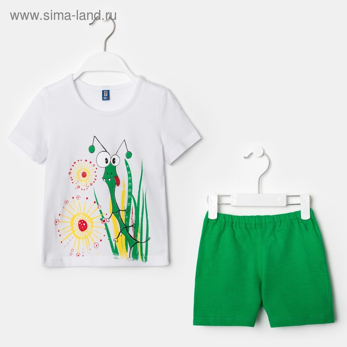 """Костюм для девочки """"Кузнечик"""", рост 98-104 см (28), цвет белый/зелёный Р607715_Д"""