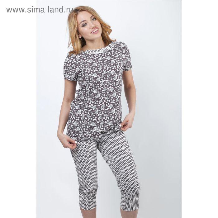 Пижама женская (футболка, бриджи) Р208080 вискоза цвет коричневый, рост 158-164, р-р 58